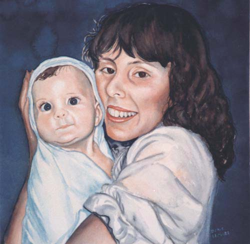 MarleneandBaby - Watercolor Portrait